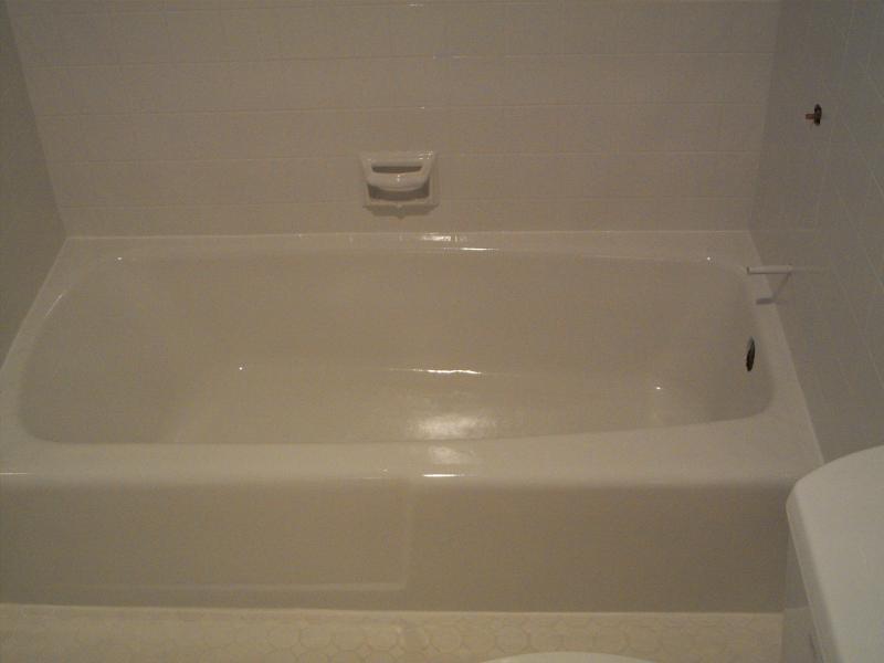 Bathtub & Wall tile reglazed to update color!